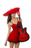 Woman wearing red sombrero isolated Royalty Free Stock Image