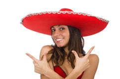 Woman wearing red sombrero isolated Stock Photography