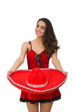 Woman wearing red sombrero isolated on white. Woman wearing red sombrero on white royalty free stock images