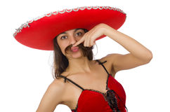 Woman wearing red sombrero isolated on white Stock Images