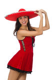 Woman wearing red sombrero isolated on white. Woman wearing red sombrero  on white Stock Image