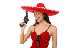 Woman wearing red sombrero isolated on white. Woman wearing red sombrero on white stock photography