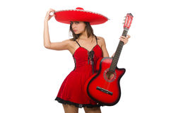 Woman wearing red sombrero isolated on white Royalty Free Stock Photography