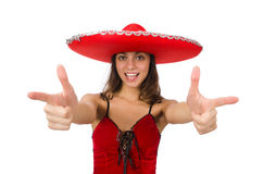 Woman wearing red sombrero isolated on white Stock Image