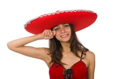Woman wearing red sombrero isolated on the white. Woman wearing red sombrero isolated on white royalty free stock photo