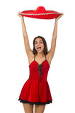 Woman wearing red sombrero  Royalty Free Stock Images