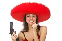 Woman wearing red sombrero  Stock Photo