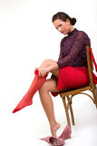 Woman wearing red stockings Royalty Free Stock Images