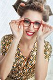 Woman Wearing Red Vintage Eyeglasses Stock Photo