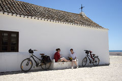 Portugal Europe Cyclists take a lunch stop Royalty Free Stock Photo