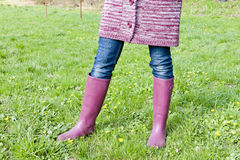 Woman wearing rubber boots Royalty Free Stock Photo