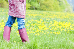 Woman wearing rubber boots Royalty Free Stock Photography
