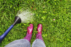 A woman wearing rubber boots pours the lawn Royalty Free Stock Photography