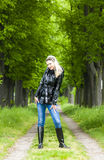 Woman wearing rubber boots Stock Image