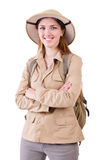The woman wearing safari hat on white. Woman wearing safari hat on white royalty free stock photos