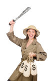 The woman wearing safari hat on white Royalty Free Stock Photo