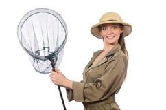 The woman wearing safari hat on white. Woman wearing safari hat on white Royalty Free Stock Image