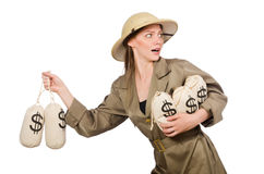 The woman wearing safari hat on white Stock Image