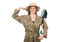 The woman wearing safari hat on white Royalty Free Stock Image