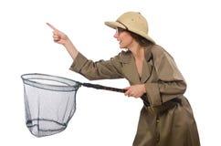 The woman wearing safari hat on white Stock Image
