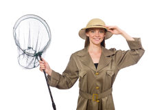 The woman wearing safari hat on white Royalty Free Stock Photography