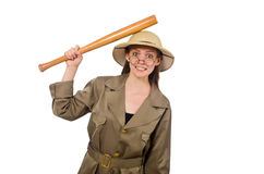 The woman wearing safari hat on white Stock Images