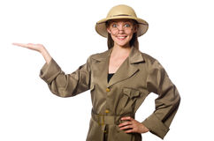 The woman wearing safari hat on white Royalty Free Stock Images
