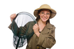 The woman wearing safari hat on white. Woman wearing safari hat on white Royalty Free Stock Photo