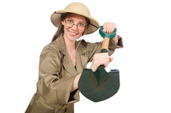 The woman wearing safari hat on white Stock Photography
