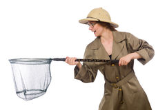 The woman wearing safari hat on white. Woman wearing safari hat on white Stock Images