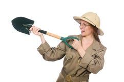 Woman wearing safari hat on white Royalty Free Stock Photos