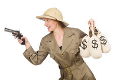 The woman wearing safari hat on white Stock Photos