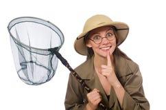 The woman wearing safari hat on white. Woman wearing safari hat on white Royalty Free Stock Images