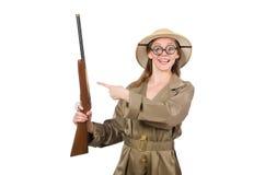 Woman wearing safari hat on white Stock Images