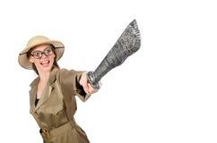Woman wearing safari hat on white Royalty Free Stock Image