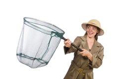 Woman wearing safari hat on white Royalty Free Stock Images