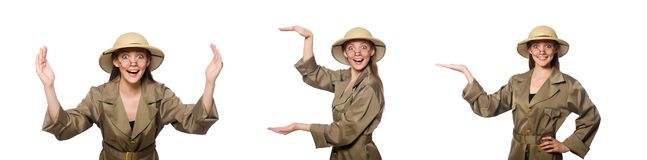 The woman wearing safari hat on white. Woman wearing safari hat on white stock photography