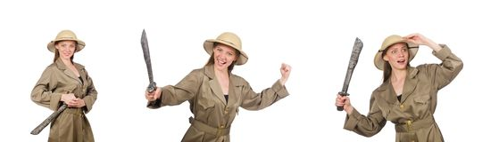 The woman wearing safari hat on white. Woman wearing safari hat on white stock image