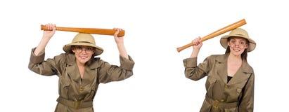 Woman wearing safari hat on white. The woman wearing safari hat on white royalty free stock photography