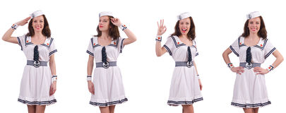 The woman wearing sailor suit isolated on white Stock Photos