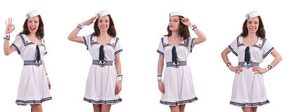 The woman wearing sailor suit isolated on white. Woman wearing sailor suit isolated on white Stock Photography