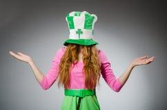 Woman wearing saint Royalty Free Stock Images