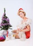 Woman wearing santa claus Royalty Free Stock Photos