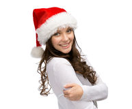 Woman wearing Santa Claus cap Stock Image