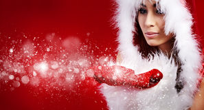 Woman  wearing santa claus clothes Royalty Free Stock Photos
