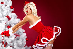 Woman wearing santa claus clothes Royalty Free Stock Photos