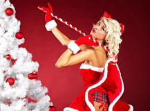 Woman wearing santa claus clothes Stock Photography