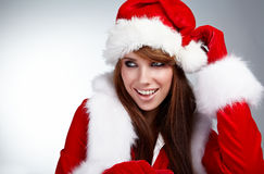 Woman wearing santa claus clothes Royalty Free Stock Images