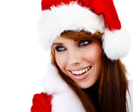 Woman wearing santa claus clothes Stock Images