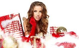 Woman wearing santa claus clothes Stock Photo